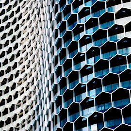 Honeycomb by Justin Lee - Buildings & Architecture Architectural Detail ( modern, highrise, building, facade, exterior, offices, contemporary, glass, windows, symmetry, architecture, geometrical, singapore, geometry )