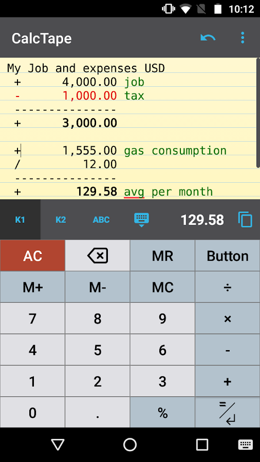CalcTape Free Tape Calculator Screenshot 0