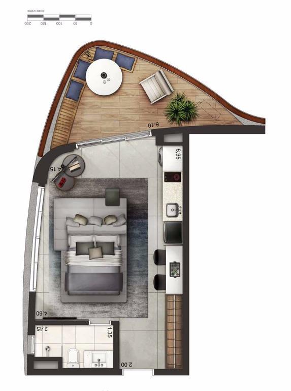 Apto 49 m² Layout 1