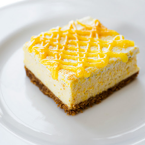 "Rich & Creamy, Lemony ""Sunshine"" Cheesecake Bars with Sweet Vanilla Bean Sour Cream"