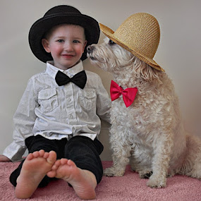 Buddies- by B Lynn - Babies & Children Toddlers ( expression, dogs, pair, dress up, children, little, twins, kid, hat, child, love, hats, silly, friends, family, pets, friendship, pink, smile, portraits, toddler, smiling, look, funny, bows, fun, kids, toddlers, double, smiles, portrait, emotion, two, matching, companionship, pet, suit, puppy, match, dog, friend,  )