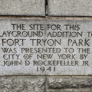 THE SITE FOR THIS PLAYGROUND ADDITION TO FORT TRYON PARK WAS PRESENTED TO THE CITY OF NEW YORK BY JOHN D ROCKEFELLER JR 1941Submitted by @lampbane