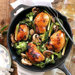 Mahogany Chicken with Broccoli, Mushrooms and Green Onions
