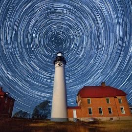 Tracing the North Star by Ken Smith - Landscapes Starscapes ( upper peninsula, au sable lighthouse, star trails, landscape )