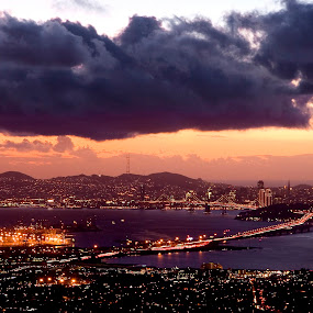 San Francisco skyline at sunset by Gale Perry - City,  Street & Park  Skylines ( clouds, skyline, from above, dramatic, orange sunset, san francisco,  )