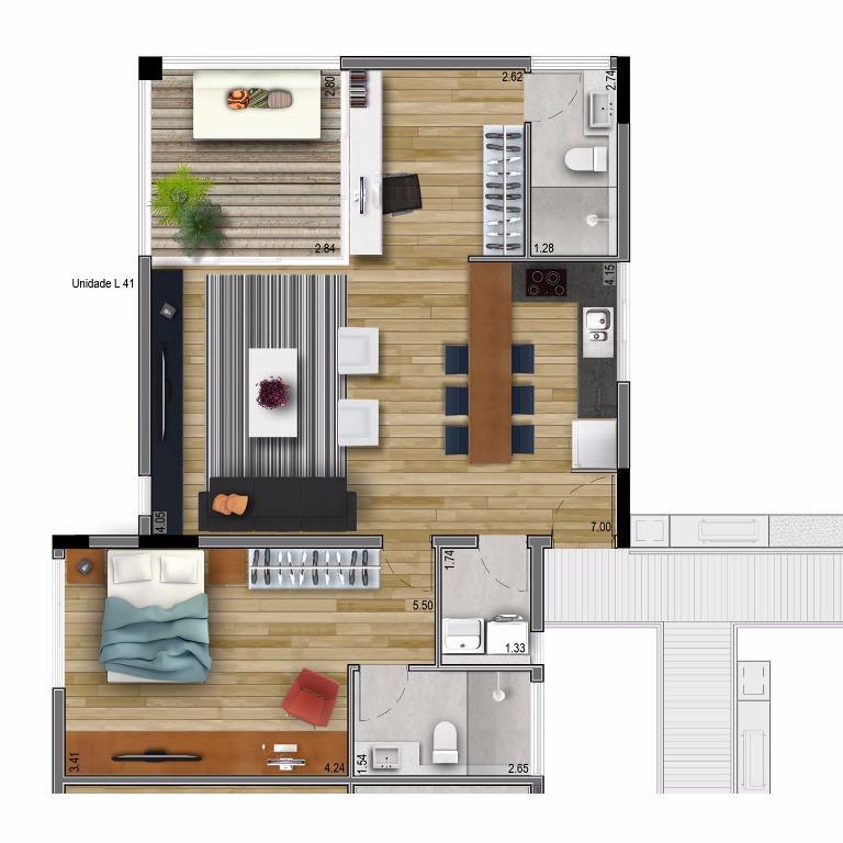 Planta Apto 41 - 81 m²
