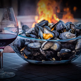 Fire and Wine by Rita Taylor - Food & Drink Plated Food ( wine, fish, fun, fire )