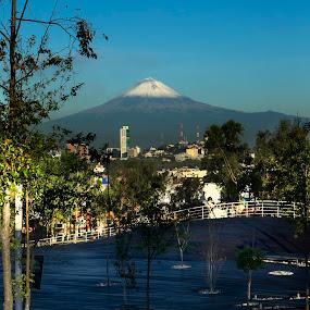 Puebla Park by Cristobal Garciaferro Rubio - City,  Street & Park  Vistas ( mexico, puebla, los fuertes park, popocatepetl, snowy volcano )