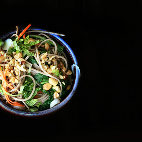 Recipe for Soba Noodle Salad with mixed vegetables, peanuts, and mint