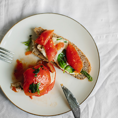 Roasted Tomatoes With Mozzarella And Basil