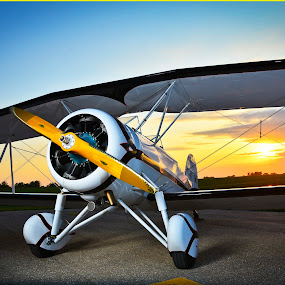 Evening Departure by Greg Harrison - Transportation Airplanes ( airplanes, great lakes aircraft, biplanes, antique airplanes, barnstorming )