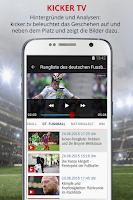 Screenshot of kicker Fußball News