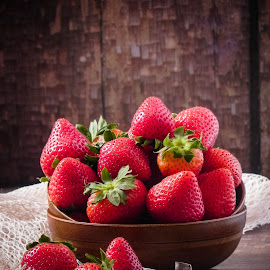 Strawberry by Fidaa Haddad - Food & Drink Fruits & Vegetables ( fruit, red, still life, food, food styling, summer, food photography, strawberry )