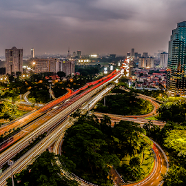 Semanggi by Erwin Sutarko - City,  Street & Park  Night ( cityscapes, afternoon, indonesia, semanggi, jakarta, cityscape, city at night, street at night, park at night, nightlife, night life, nighttime in the city )