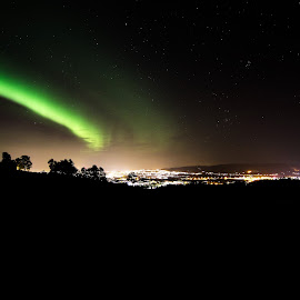 Aurora Boralis / Nothern lights over Trondheim by Roald Heirsaunet - Landscapes Cloud Formations
