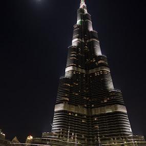 Burj Khalifa 4 by Bim Bom - Buildings & Architecture Office Buildings & Hotels ( dubai tower uae burj khalifa united arab emirates night water refletion moon )