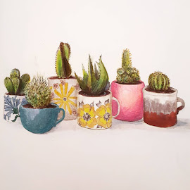 Shout out to the flu for giving me time to curl up under a blanket and draw. #sketches #cups #kitchengarden #cactus #art by Sarah Basso - Drawing All Drawing