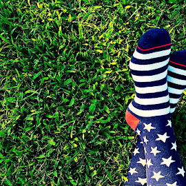 Stars and Stripes by Amelia Rice - Artistic Objects Clothing & Accessories ( grass, stars and stripes, socks, feet )