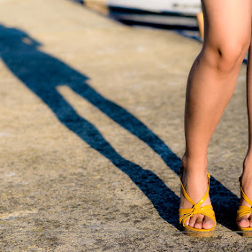 Sexy shadow by Péter Nagy - People Body Parts ( leg, girl, shadow, feet, summer, toes, yellow, women )
