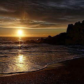 Sunset at Fogarty Beach by Gaylord Mink - Landscapes Sunsets & Sunrises ( ocera, rocks )