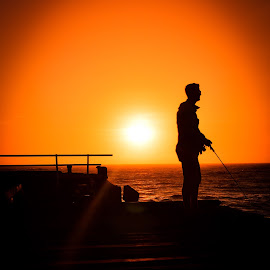 The Fisherman by Stuart Lilley - Sports & Fitness Other Sports ( sunsets, sunset, sports, sport, sea, fisherman,  )