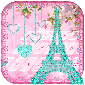 Diamond Eiffel Tower Pink Paris Keyboard For PC