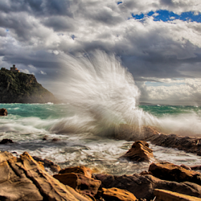 Waves on tuscany cliffs by Gianluca Presto - Landscapes Waterscapes ( water, clouds, cliffs, tuscany, splash, hdr, waterscape, waves, sea, seascape, coastline, coast, wave, cloudy, castle, italy,  )