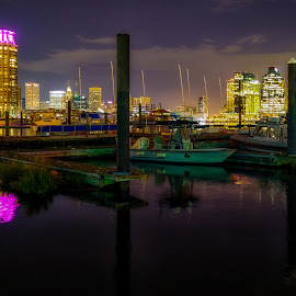 Baltimore at Night by Carol Ward - City,  Street & Park  Night ( reflection, skyline, harbor, baltimore, maryland, night shoot, nightscape )
