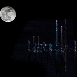Moonlight in Screwcity by Klaus Weber - Digital Art Abstract ( moon, funny, screw, night, photoshop )