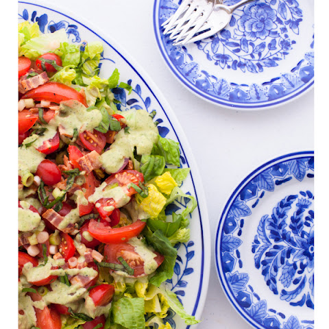 Bacon Lettuce and Tomato Salad with Creamy Pesto Dressing