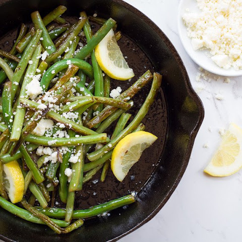 Skillet Seared Green Beans with Lemon and Cotija Cheese