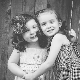 Adorable by Jenny Hammer - Babies & Children Children Candids ( girls, best friends, black and white, bffs, kids, cute )