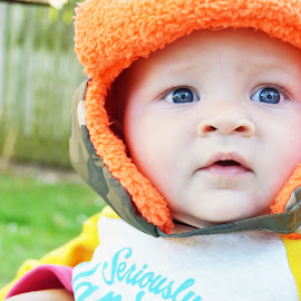 Country Baby at Heart by Abby Jaeger - Babies & Children Babies ( orange hat, outdoor photography, little brother, blue eyed baby, close up, fall weather, hunting hat, country baby )