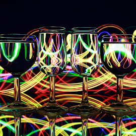 glasses with lines by Peter Salmon - Artistic Objects Glass
