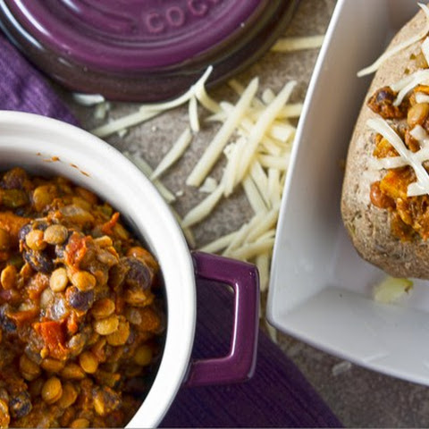 Slow Cooker Vegetarian Lentil and Pumpkin Chili