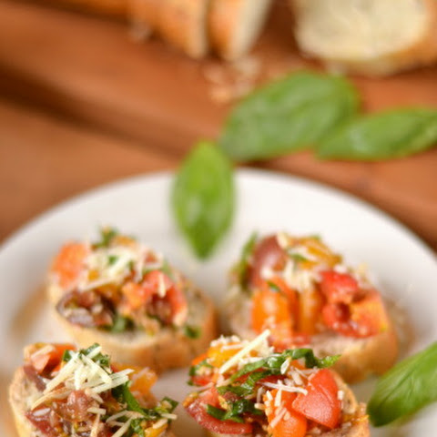 Cherry Tomato Bruschetta with Parmesan Cheese