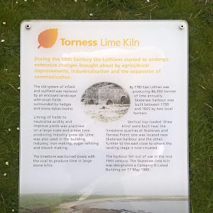 There is also a history of humans using the limestone, as in the abandoned kilns described in this plaque.  Even now the limestone continues to be quarried out and there is a cement works nearby ...
