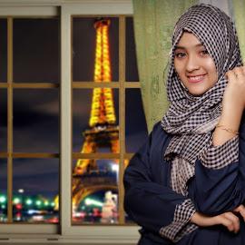 Somewhere near window by Taufik Hidayat - Digital Art People ( #eiffel #girl 3hijab #composite #digital art )