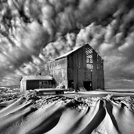 Those Were The Days by Phil Koch - Black & White Buildings & Architecture ( farm, blackandwhite, winter, barn, landscape )