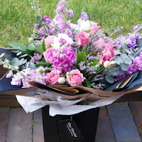 Luxury pinks and purples hand tied bouquet - The Florist Tunbridge Wells
