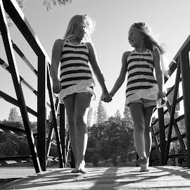 Summer Fun by Kathleen Koehlmoos - Babies & Children Children Candids ( footbridge, kids, summer fun, twins, holding hands )
