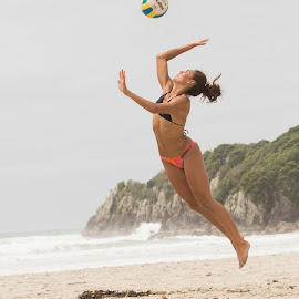 Attitude and Altitude by Trevor Bond - Sports & Fitness Other Sports ( beach volley ball, mnt maunganui, volleyball, nz, beach )