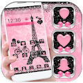Free Rose Pink Paris Eiffel Tower Launcher Theme APK for Windows 8