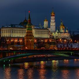 A winter night view of the Kremlin by Travis Pambu - City,  Street & Park  Night (  )