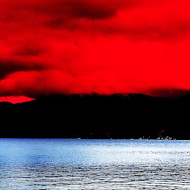 Shadow Mountains  by Devon Andriola - Digital Art Places ( idaho, water, red, sky, digital art, lake, photography )