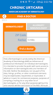 AAD Chronic Hives Patient App- screenshot thumbnail