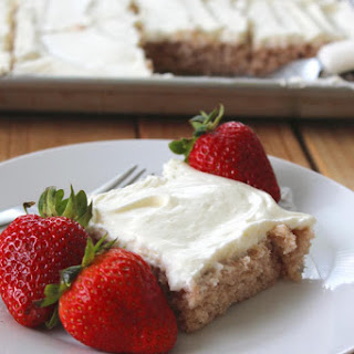 Easy Strawberry Sheetcake with Whipped Frosting