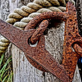 Rusty Anchor by Barbara Brock - Artistic Objects Industrial Objects ( old anchor, rusty anchor with rope, marine equipment, rust, anchor,  )