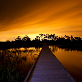 path to unknown destination by John Wollwerth - Landscapes Waterscapes ( nobody, reflection, direction, way, marsh, road, landscape, boardwalk, island, risk, sky, dark, path, causeway, darkness, alone, lonely, light, clouds, water, orange, desolate, twilight, cloudscape, unknown, metaphor, destination, narrow, environment, route, night, view, walk, straight, hike,  )