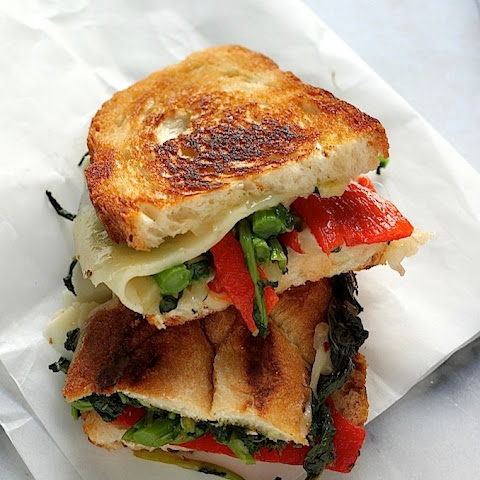 Broccoli Rabe, Roasted Red Pepper, and Provolone Grilled Cheese